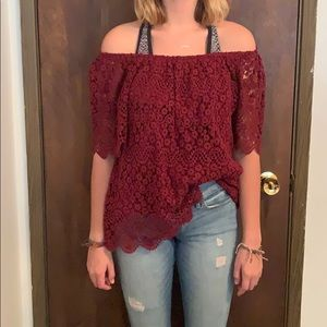 Lacy red off the shoulder top!